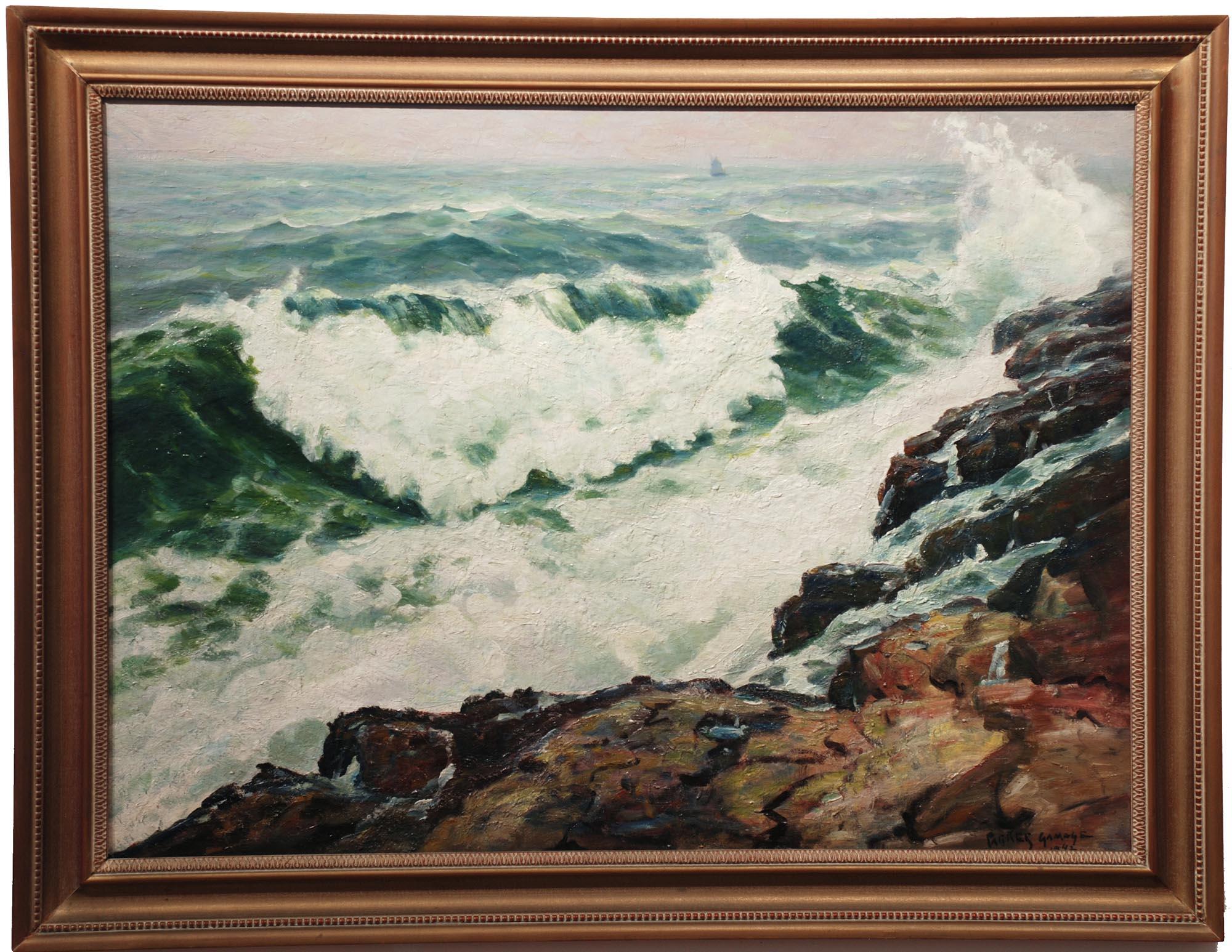 Parker Gamage Heavy Surf, 1942 framed