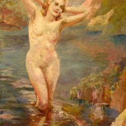 Indistinctly Signed Bathing Nude