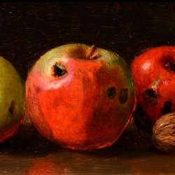 Monogrammed SP Still Life of Apples and Walnuts