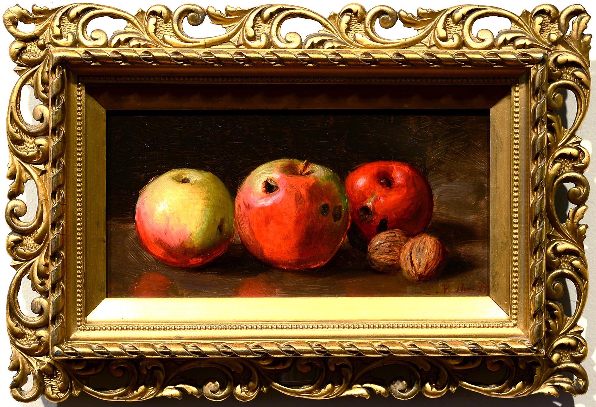 Monogrammed SP Still Life of Apples and Walnuts framed