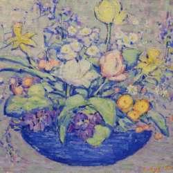 Kathryn Cherry Bouquet in Blue Vase