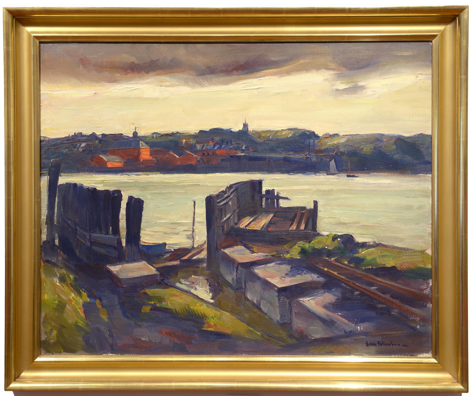 John Folinsbee Woolwich Ferry Slip framed