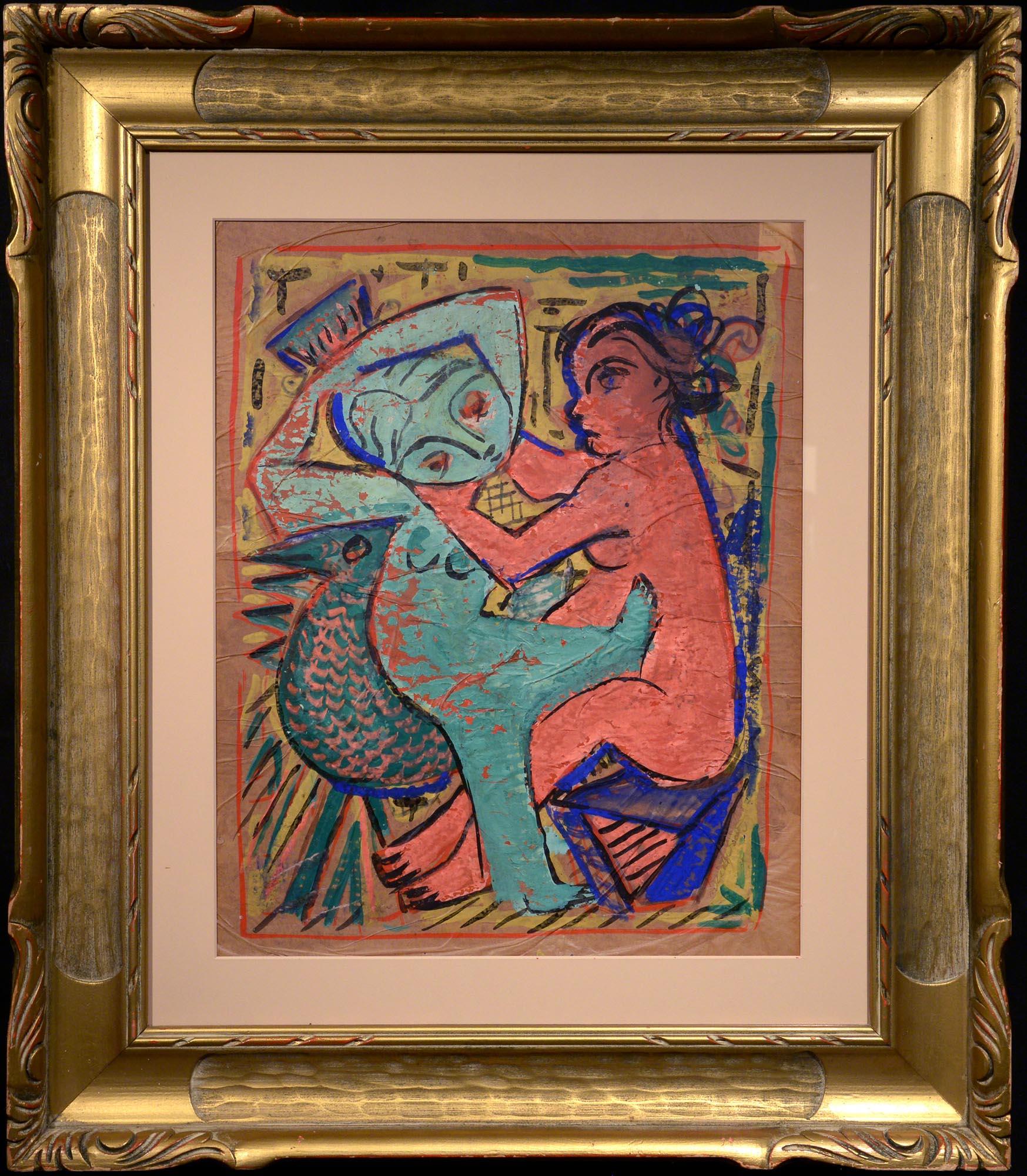 Jose de Creeft Two Women and a Bird framed