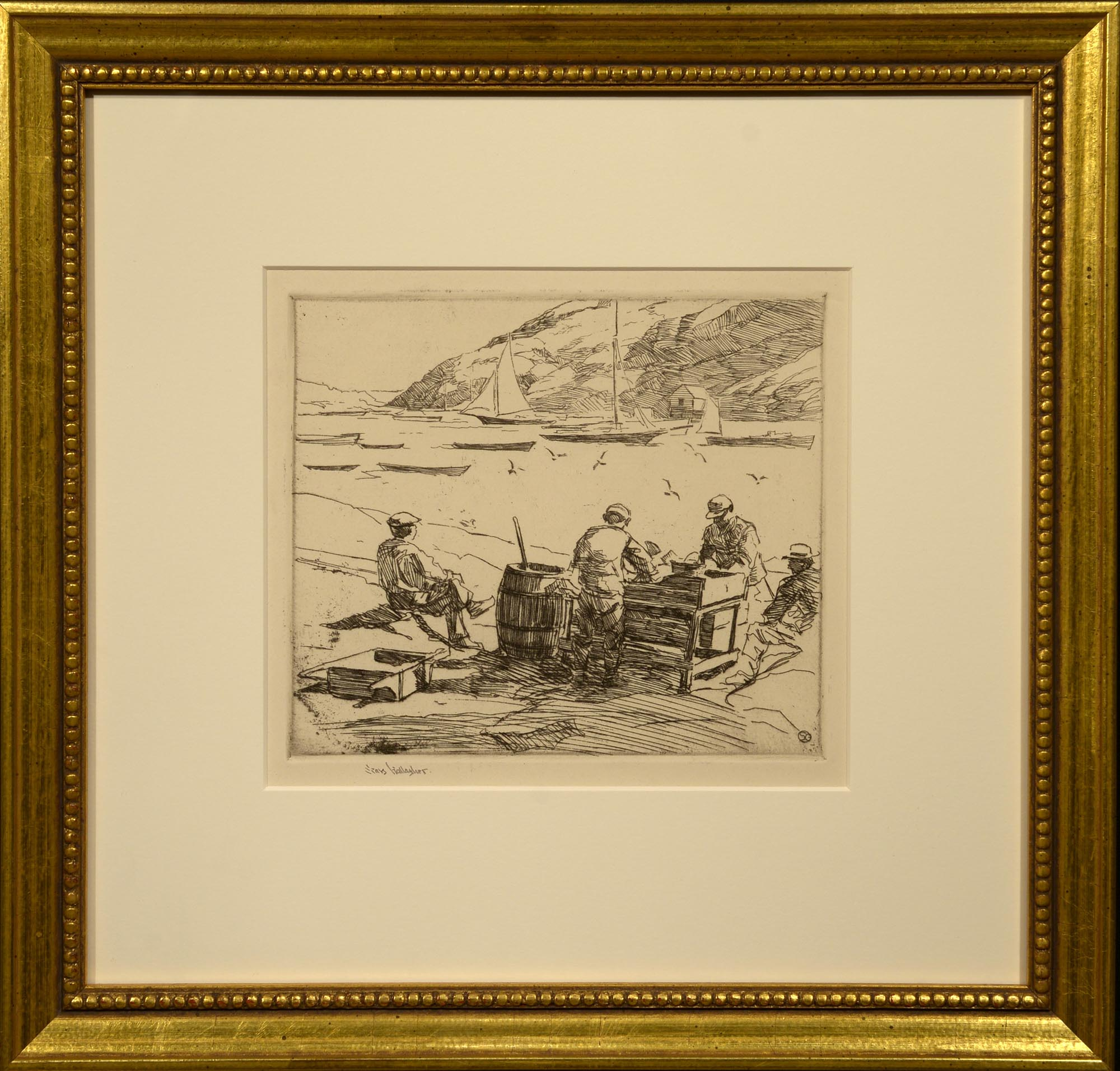 Sears Gallagher Cleaning Fish, Monhegan Harbor framed