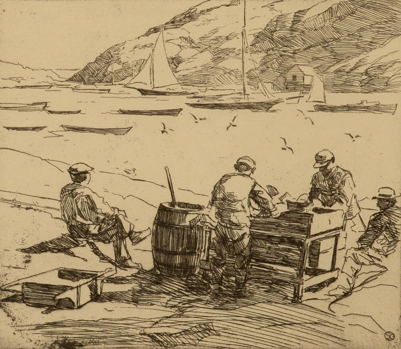 Sears Gallagher Cleaning Fish, Monhegan Harbor