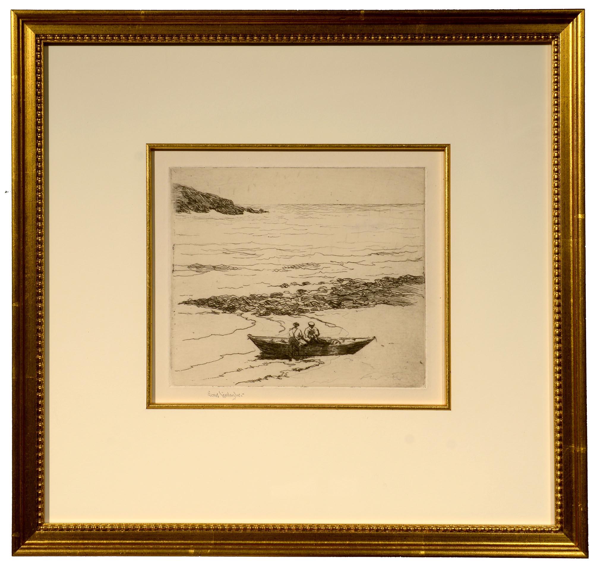 Sears Gallagher Fishermen, Fish Beach, Monhegan framed