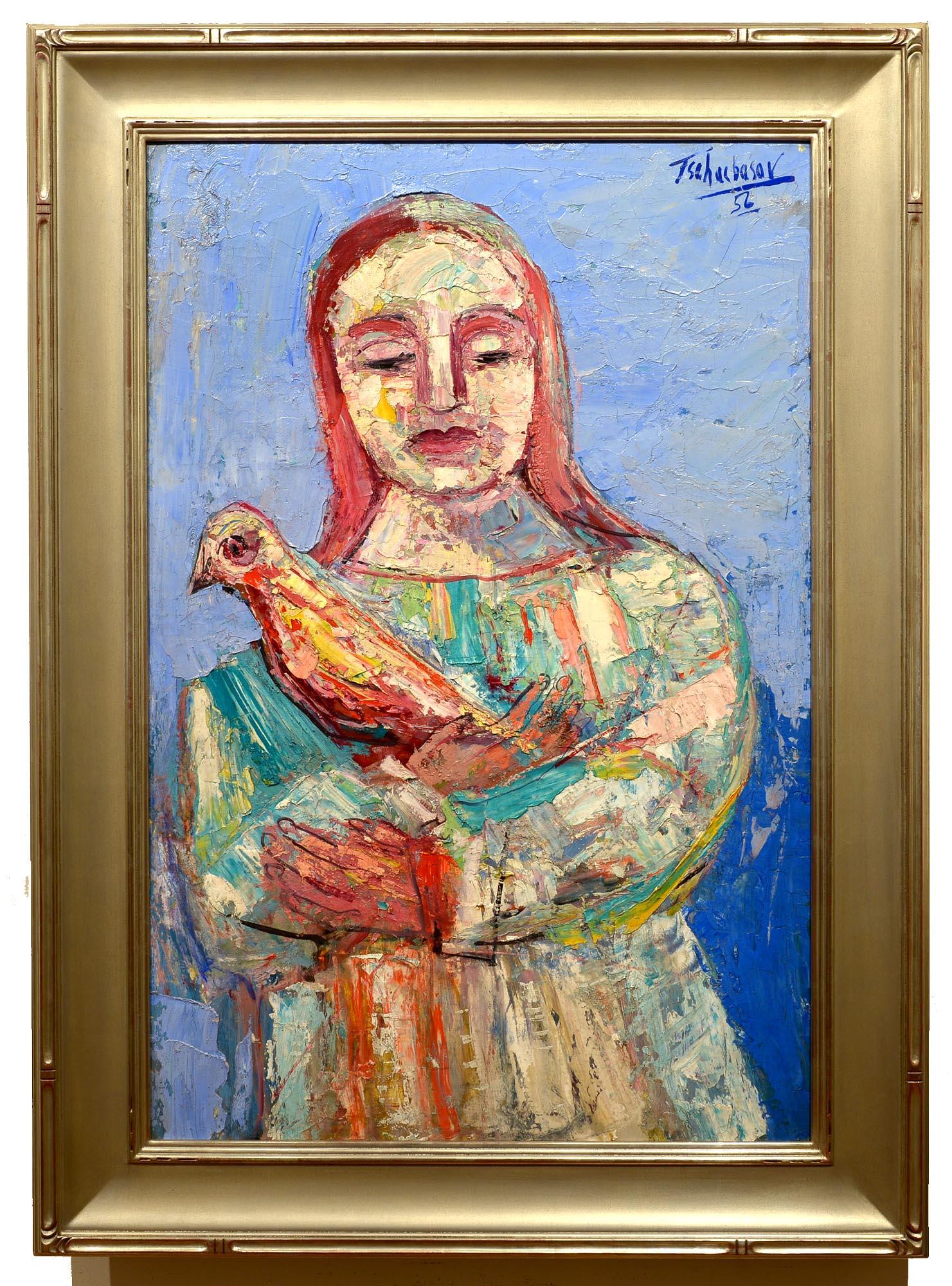 Nahum Tschacbasov Woman with Bird framed