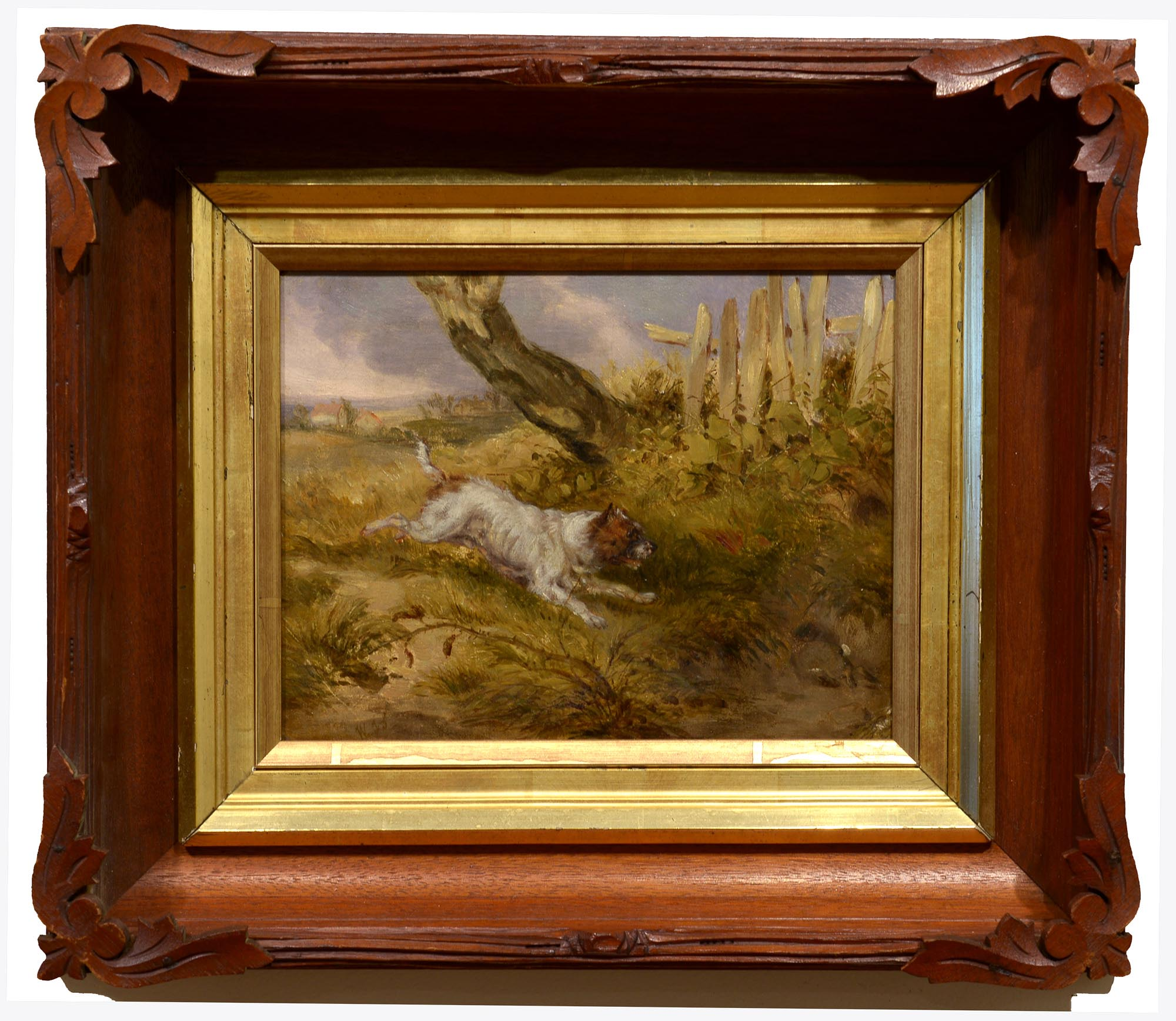 British 19th c Monogrammed The Chase framed