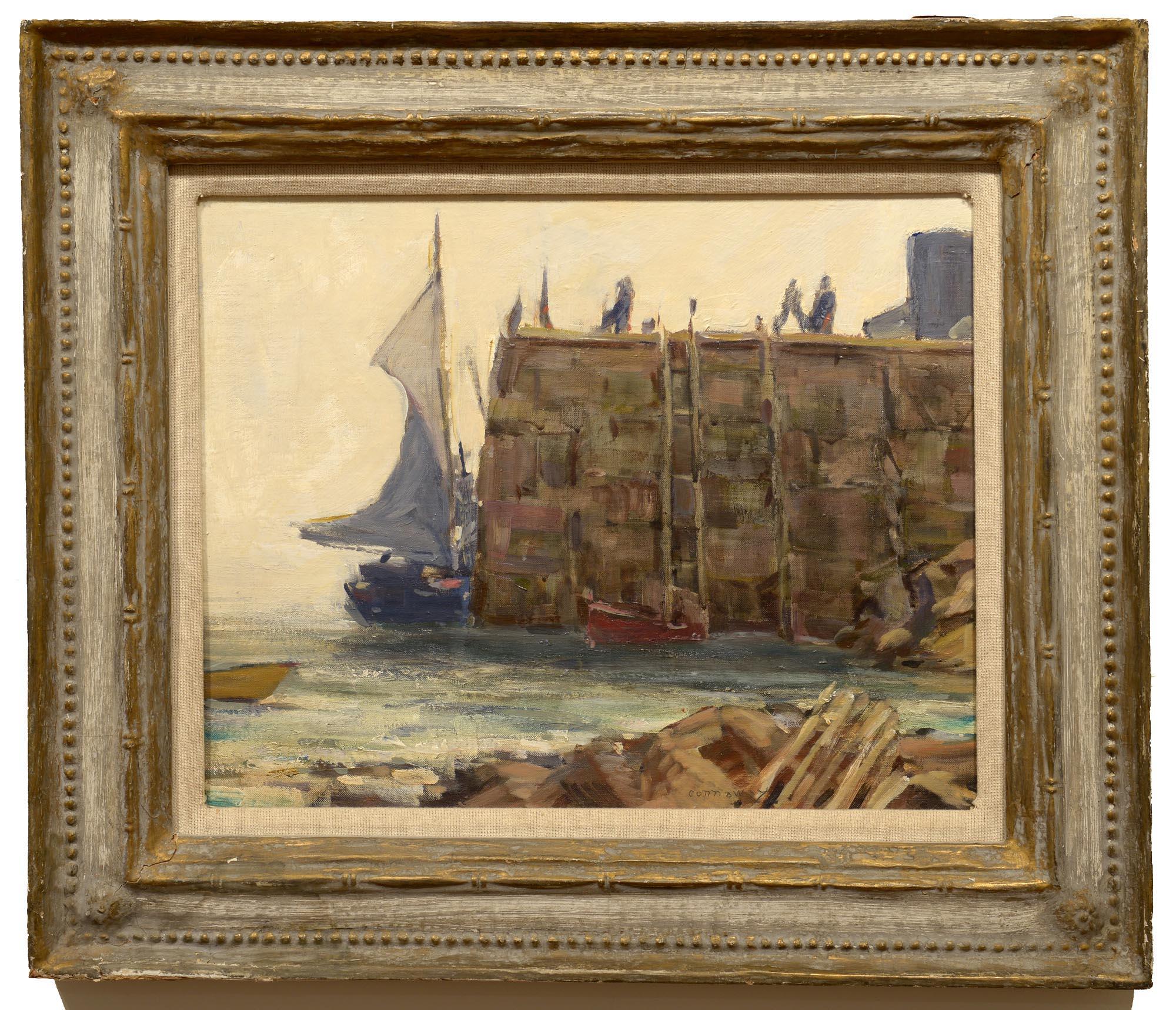 Jay Hall Connaway Monhegan Dock, Low Tide framed