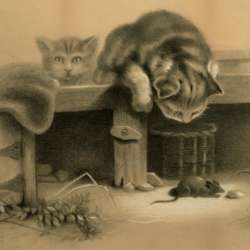 American 19th c Cats and Mice