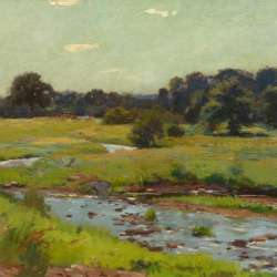 American Impressionist Brook Through the Meadow