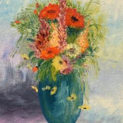 Gustav Wiegen Still Life of Wildflowers