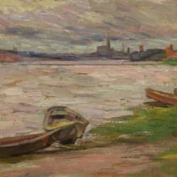 attrib Charles Woodbury Dories Along the Shore