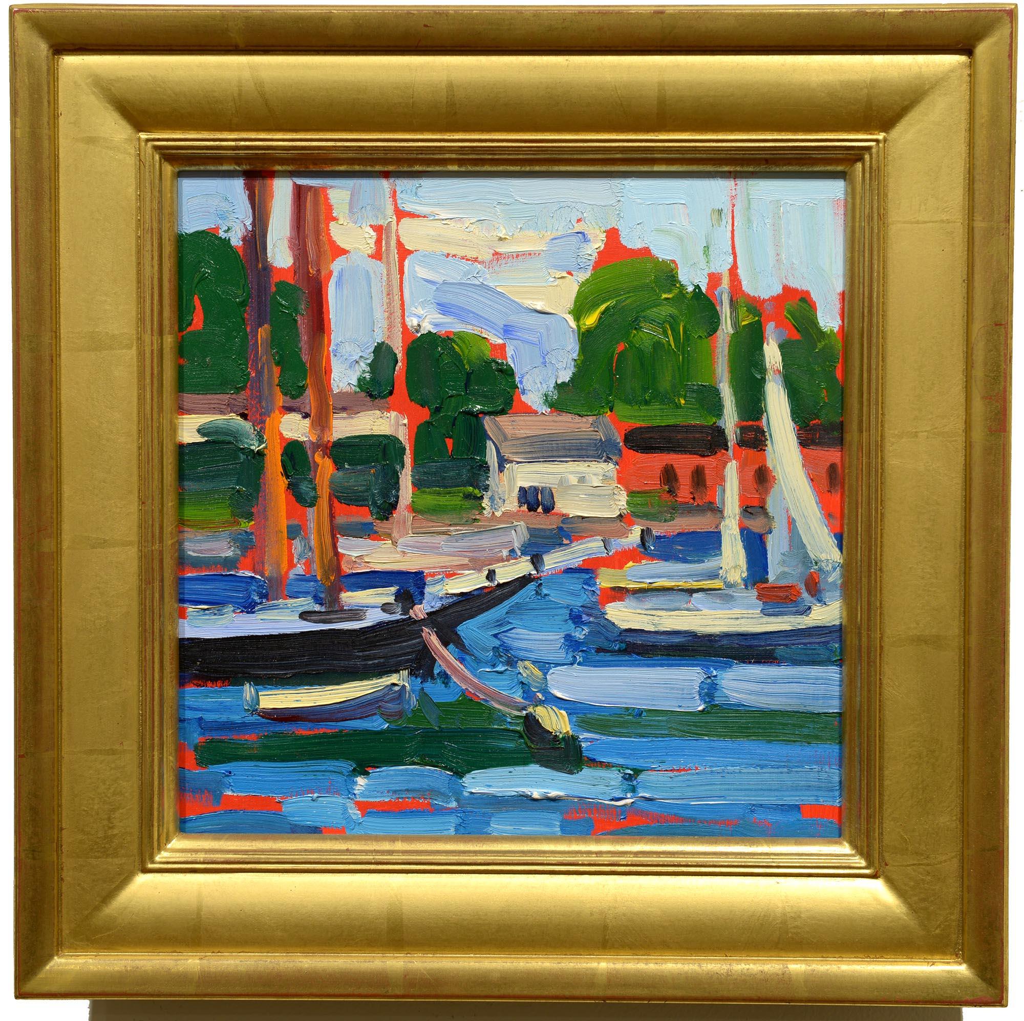 Keith Oehmig Camden Harbor Summer framed