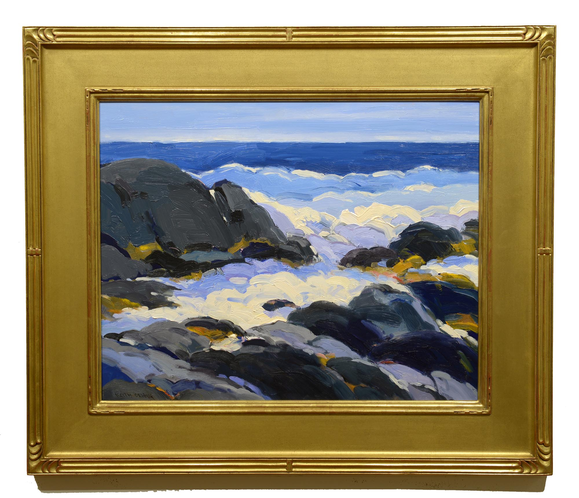 Keith Oehmig Early Morning, Lobster Cove framed