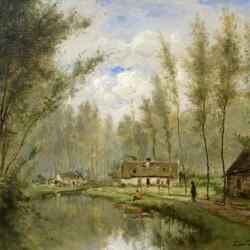 Cesar de Cock Along the River, 1869