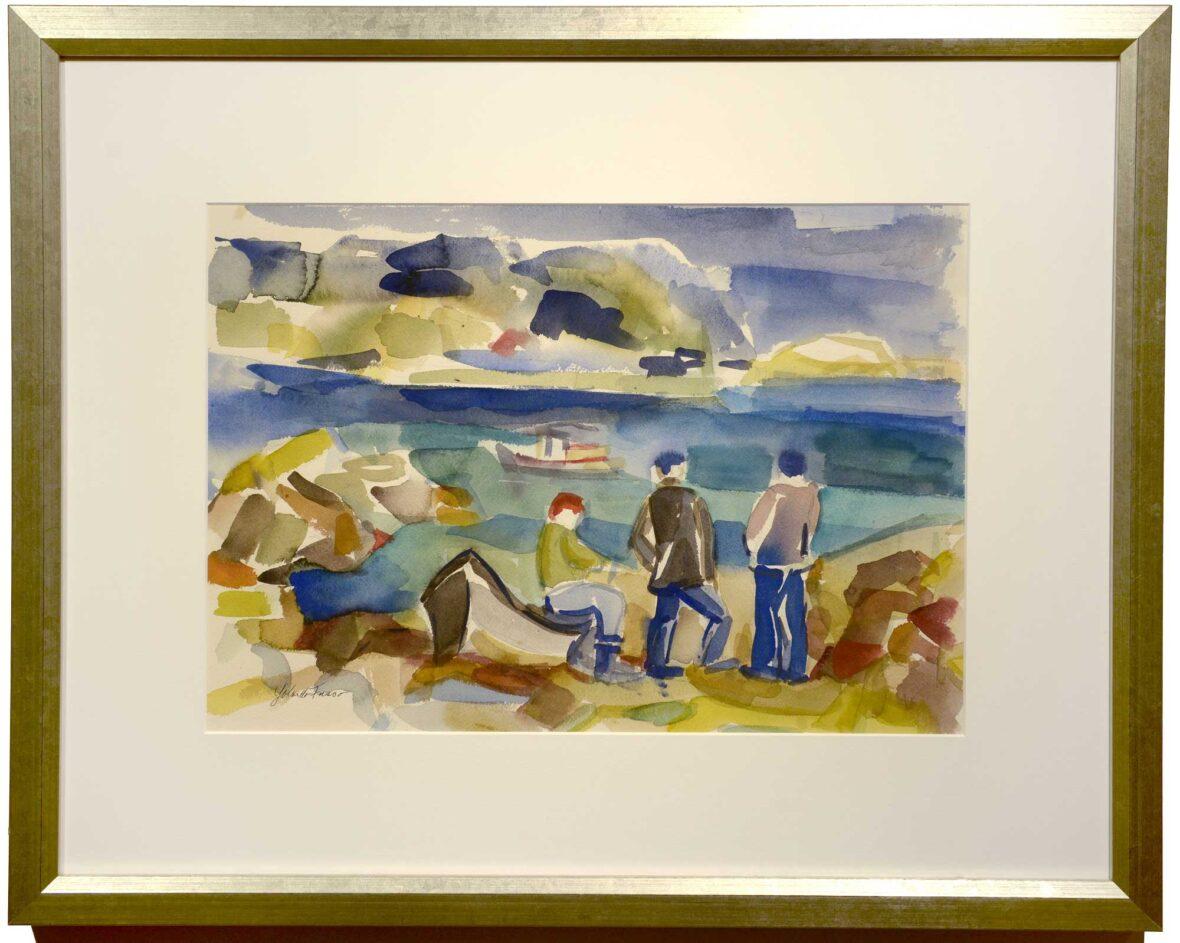 Yolanda Fusco Fishermen, Fish Beach framed