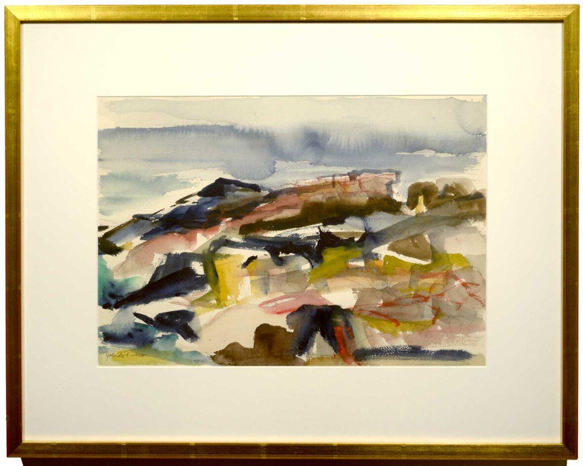 Yolanda Fusco Lobster Cove, Monhegan framed