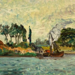 Maximillien Luce Tugboats Working Along the River