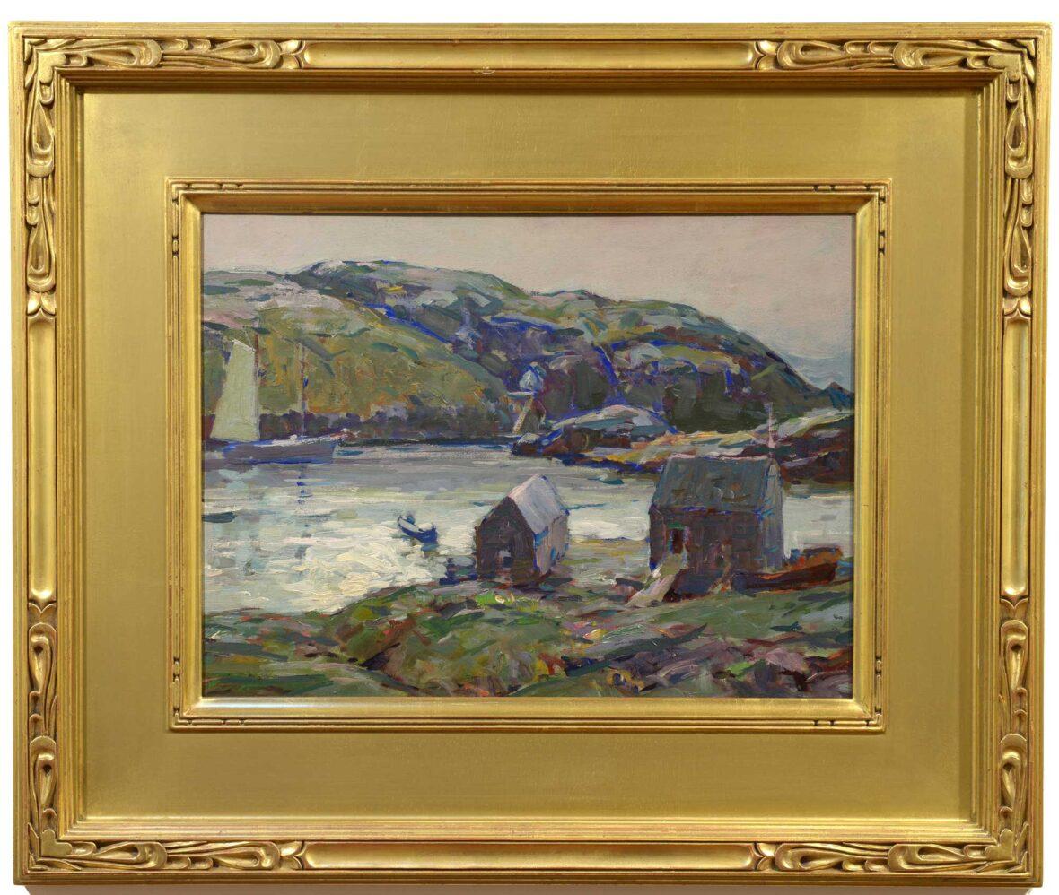 Karl Schmidt Silvery Day, Monhegan Harbor framed
