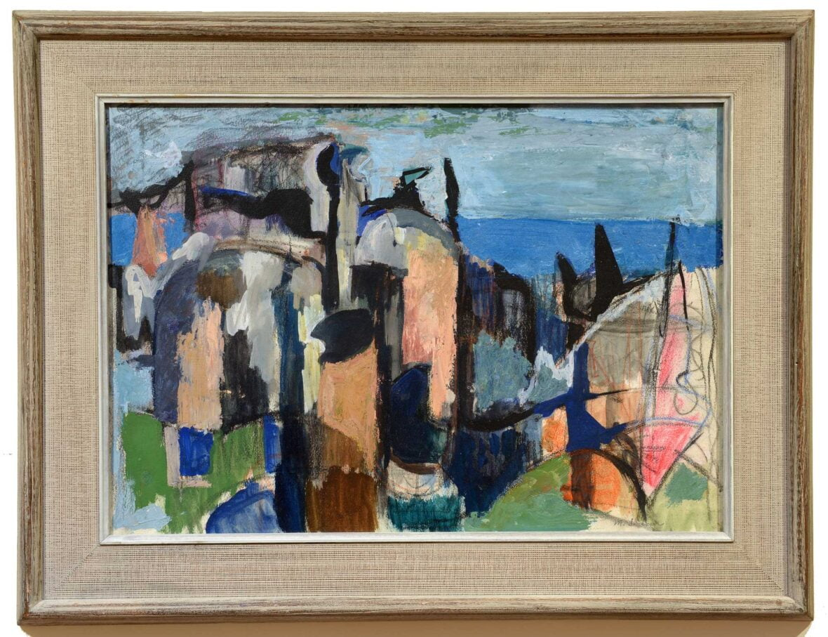 Morris Shulman Island Abstraction framed