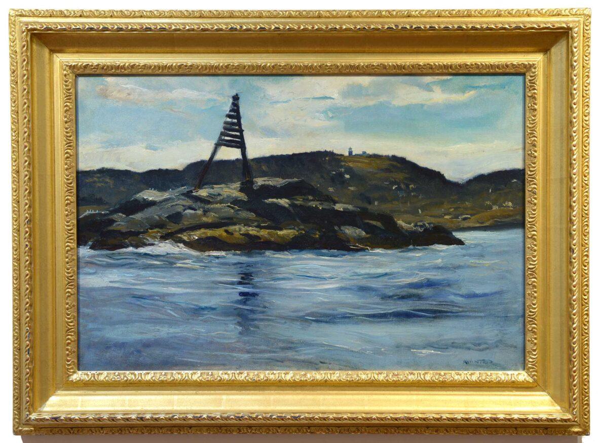 Andrew Winter Channel Marker, Monhegan framed